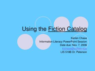 Using the  Fiction Catalog