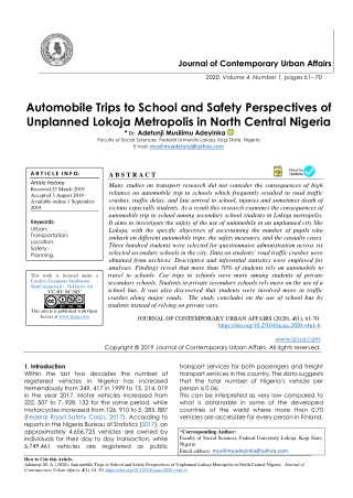 Automobile Trips to School and Safety Perspectives of Unplanned Lokoja Metropolis in North Central Nigeria