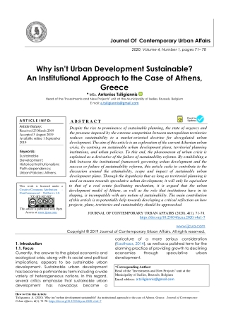 Why isn't Urban Development Sustainable? An Institutional Approach to the Case of Athens, Greece
