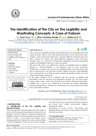 The Identification of The City on The Legibility and Wayfinding Concepts: A Case of Trabzon