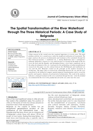 The Spatial Transformation of the River Waterfront through The Three Historical Periods: A Case Study of Belgrade