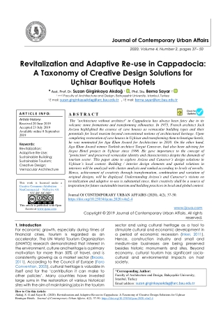 Revitalization and Adaptive Re-use in Cappadocia: A Taxonomy of Creative Design Solutions for Uçhisar Boutique Hotels