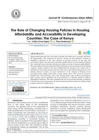 The Role of Changing Housing Policies in Housing Affordability and Accessibility in Developing Countries: The Case of Ke