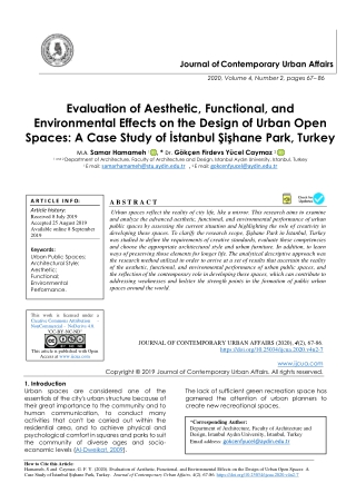 Evaluation of Aesthetic, Functional, and Environmental Effects on the Design of Urban Open Spaces: A Case Study of İstan