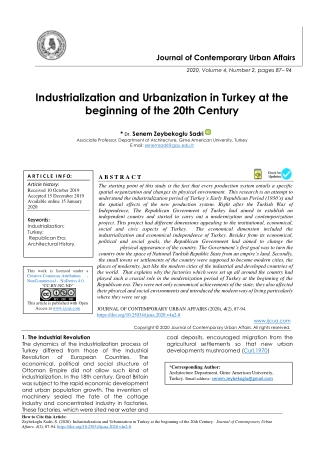 Industrialization and Urbanization in Turkey at the beginning of the 20th Century