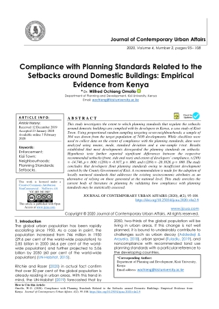 Compliance with Planning Standards Related to the Setbacks around Domestic Buildings: Empirical Evidence from Kenya