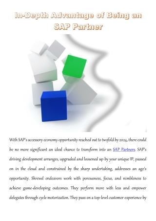 In-Depth Advantage of Being an SAP Partner