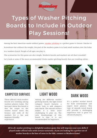 Types of Washer Pitching Boards to Include in Outdoor Play Sessions!