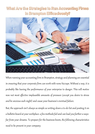 What Are the Strategies to Run Accounting Firms In Brampton Efficaciously?