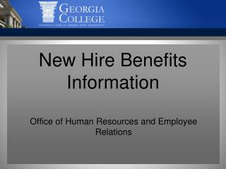 New Hire Benefits Information