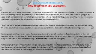 How To Advance SEO Wordpress