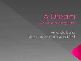 A Dream  By William  Allingham