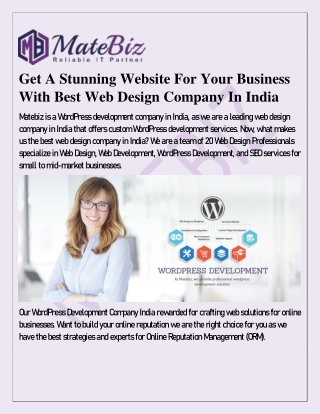 Get A Stunning Website For Your Business With Best Web Design Company In India