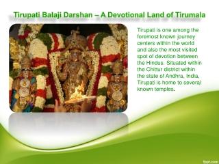 Tirupati Balaji Darshan – A Devotional Land of Tirumala