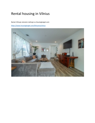 Rental housing in Vilnius