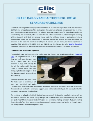 Crane Rails Manufactured Following Standard Guidelines