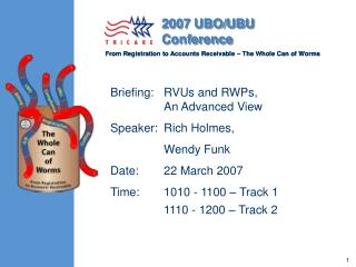 Briefing:   RVUs and RWPs, 	An Advanced View Speaker:	Rich Holmes, 	Wendy Funk Date:	22 March 2007 Time:	1010 - 1100 – T