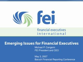 Michael P. Cangemi FEI President and CEO  May 3, 2007 Baruch Financial Reporting Conference