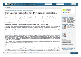 Stay Updated with Mobile App Development Technologies