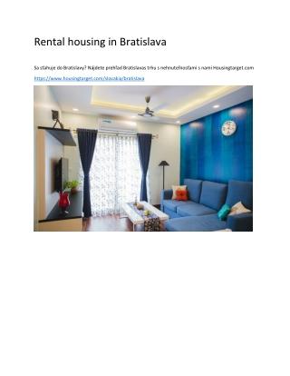 Rental housing in Bratislava