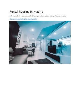 Rental housing in Madrid