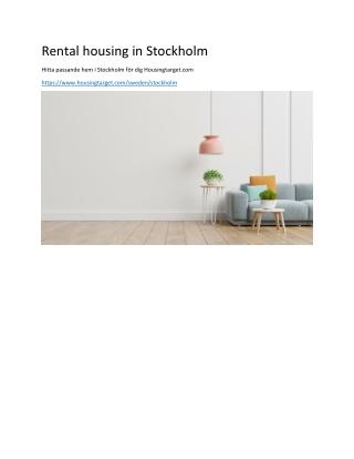 Rental housing in Stockholm