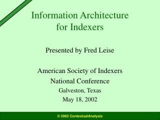 Information Architecture for Indexers