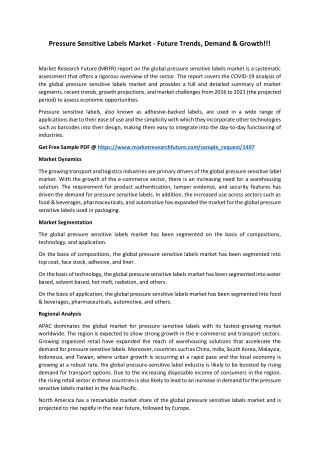 Comprehensive Scope of Pressure Sensitive Labels Market by 2021