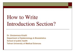 How to Write  Introduction Section?