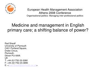 European Health Management Association  Athens 2008 Conference Organisational politics: Managing inter-professional poli