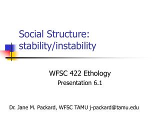 Social Structure: stability/instability