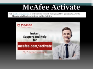 McAfee Activate enter product Key
