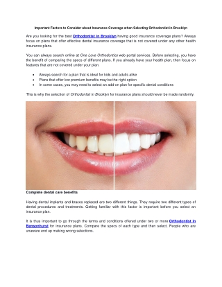 Important Factors to Consider about Insurance Coverage when Selecting Orthodontist in Brooklyn