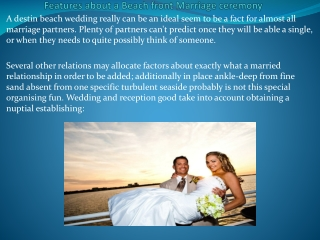 Features about a Beach front Marriage ceremony