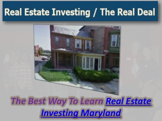 Real Estate Investing Maryland