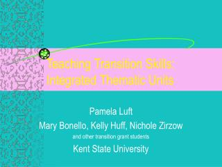 Teaching Transition Skills: Integrated Thematic Units
