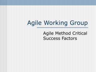 Agile Working Group