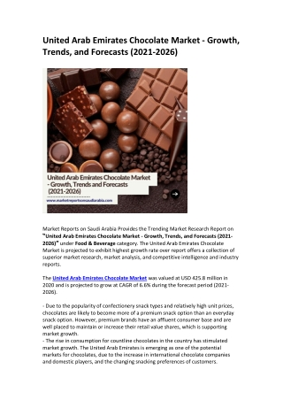 United Arab Emirates Chocolate Market - Growth, Trends, and Forecasts (2021-2026)