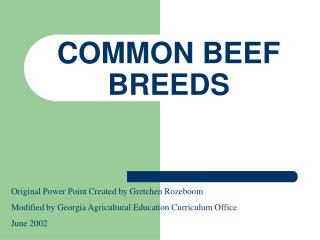 COMMON BEEF BREEDS