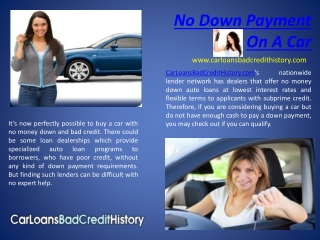 No down payment on a car