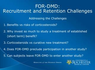 FOR-DMD:   Recruitment and Retention Challenges