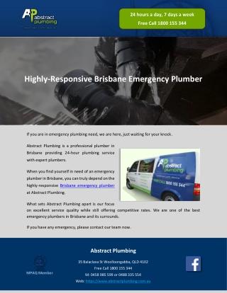 Highly-Responsive Brisbane Emergency Plumber