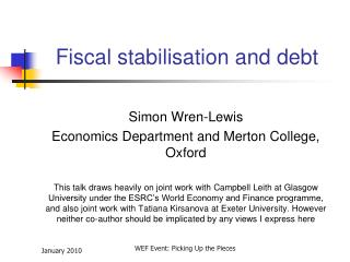 Fiscal stabilisation and debt
