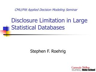 Disclosure Limitation in Large Statistical Databases