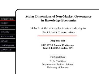 Scalar Dimensions of Non-Market Governance  in Knowledge Economies A look at the microelectronics industry in  the Great