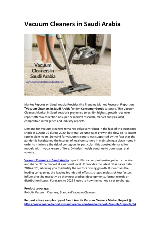 Vacuum Cleaners in Saudi Arabia: Market Trends, Size, Growth, Opportunity and Forecast 2025