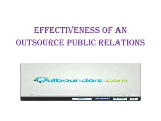 Effectiveness of an Outsource public relations