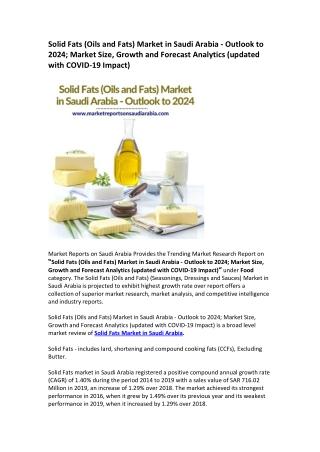 Saudi Arabia Solid Fats (Oils and Fats) Market Research Report 2024