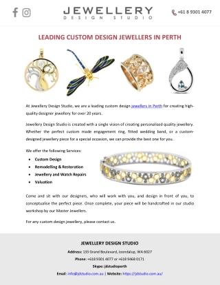 LEADING CUSTOM DESIGN JEWELLERS IN PERTH