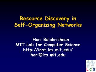 Resource Discovery in Self-Organizing Networks